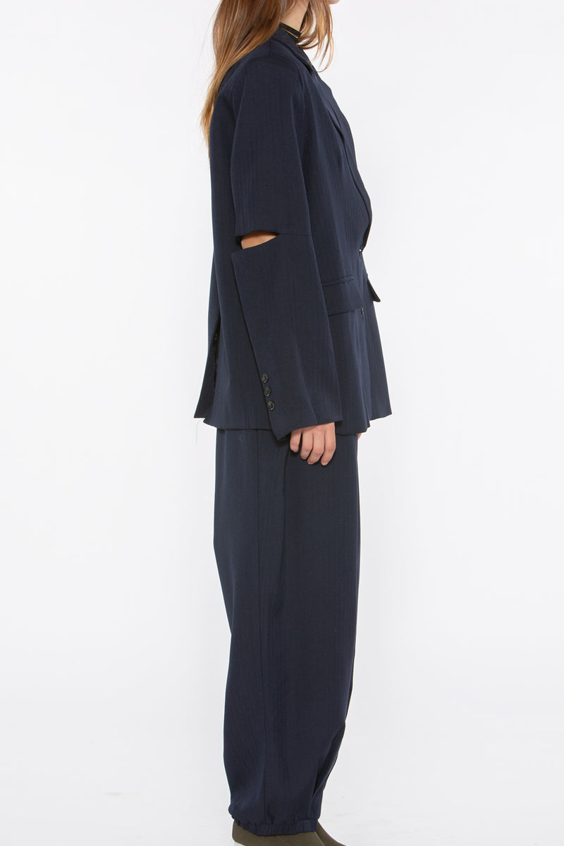 Slit Sleeve Stripe Suit Set - Shop Beulah Style
