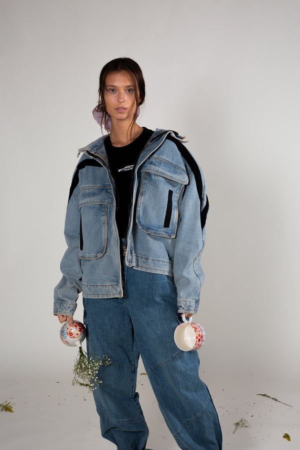 Oversized Pocket Patch Denim Jacket