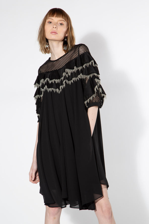 Tiered Metal Fringe Dress - Shop Beulah Style