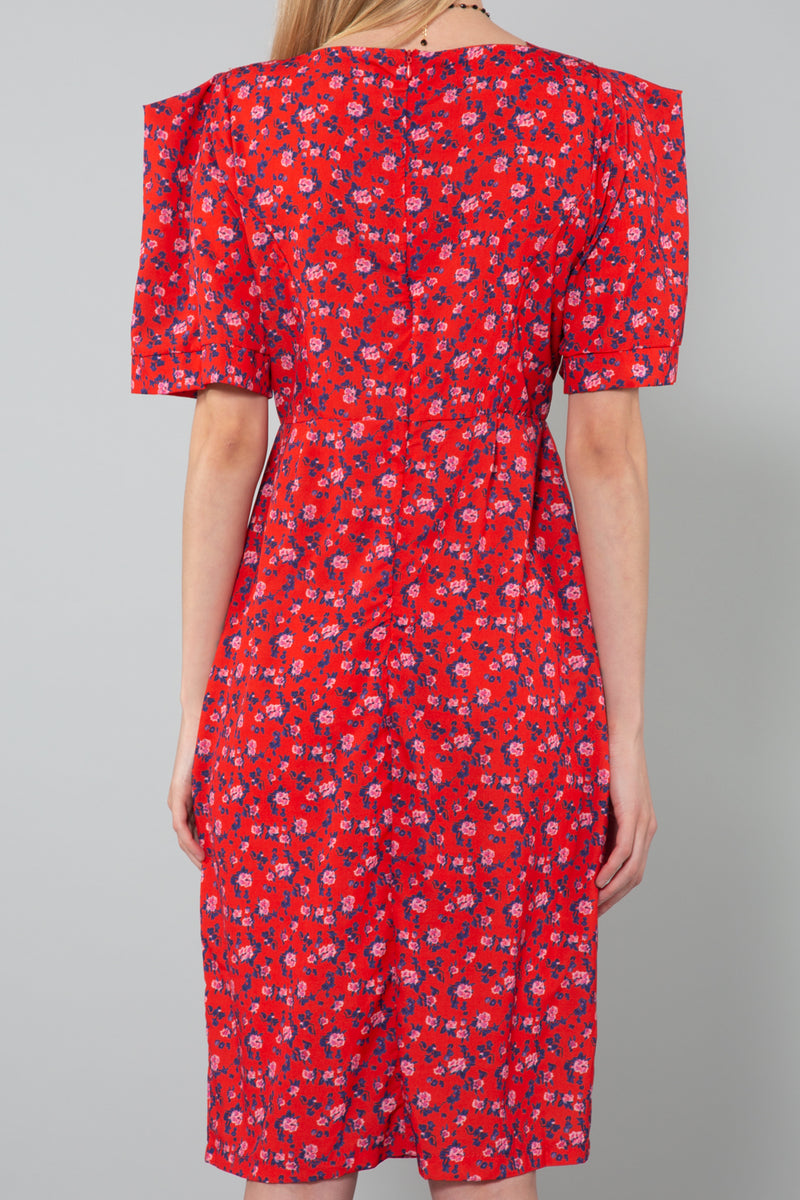 Classic Dress with Ditsy Floral Print - Shop Beulah Style