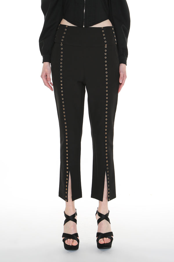 Eyelet Slit Flared Pants - Shop Beulah Style