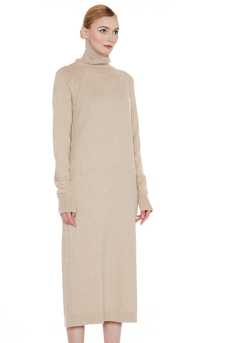 Knit Turtle Neck Midi Dress - Shop Beulah Style