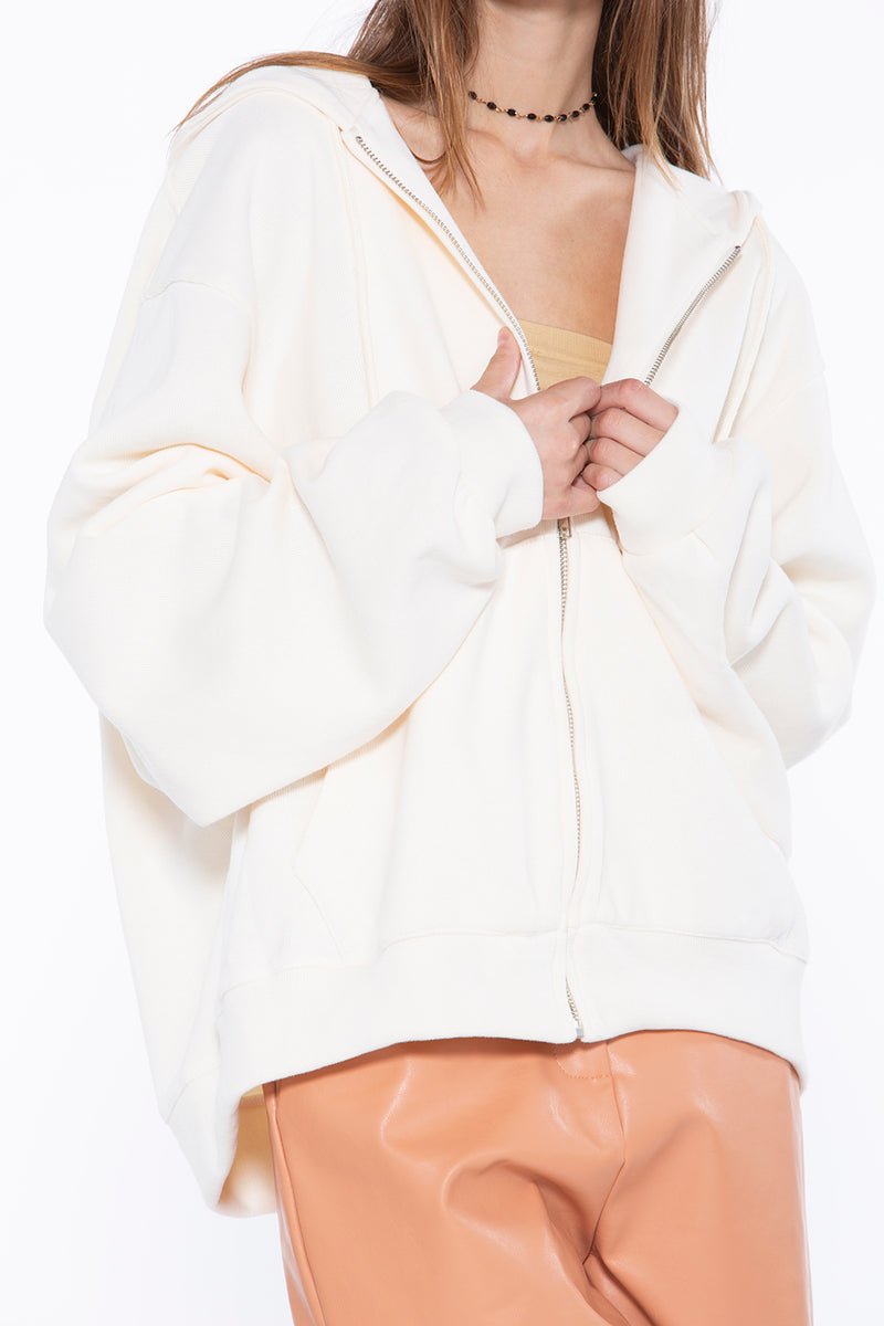Embroidery Zip Up Hoodie with Pockets - Shop Beulah Style