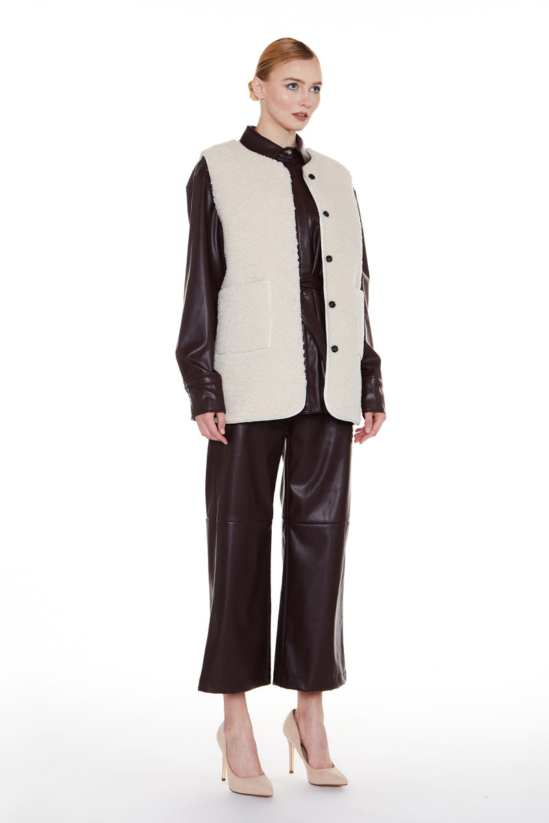 Faux Shearling Long Vest - Shop Beulah Style