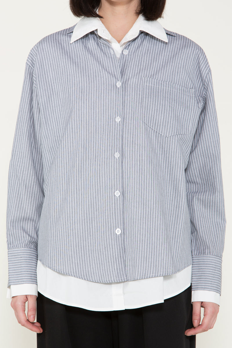 Stripe Layered Collared Shirt - Shop Beulah Style