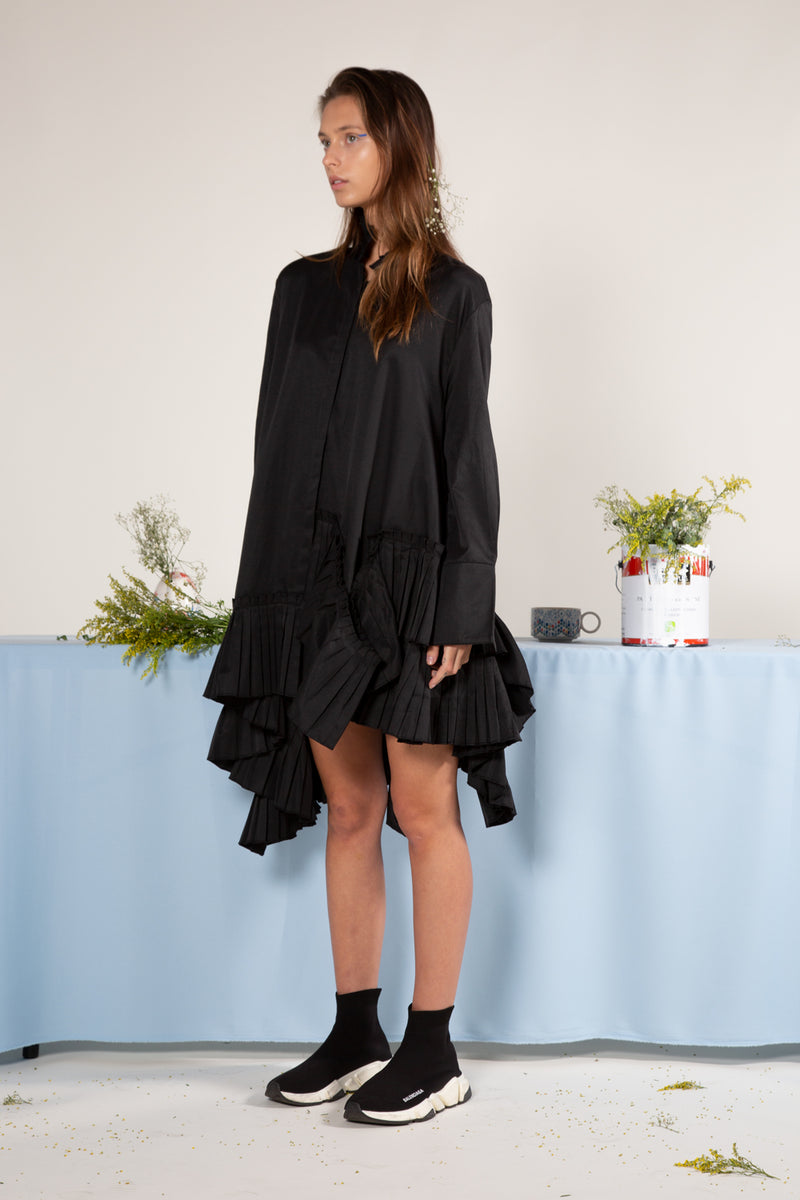 Asymmetrical Frill Mock Neck Dress - Shop Beulah Style