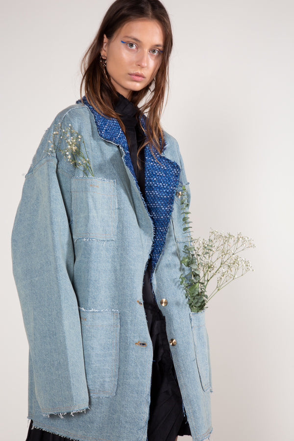 Embroidered Collar Denim Jacket - Shop Beulah Style