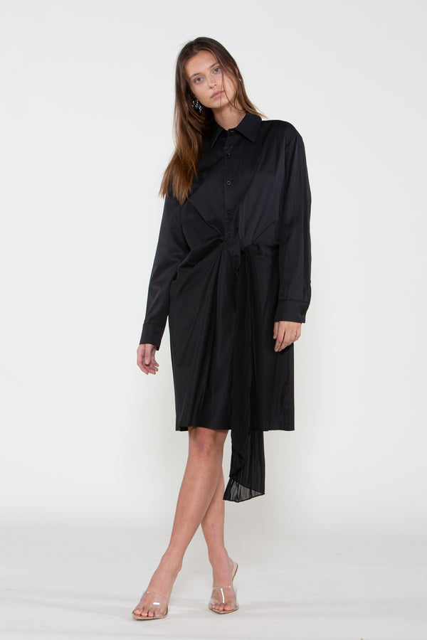 Long Frill Shirred Shirt Dress - Shop Beulah Style