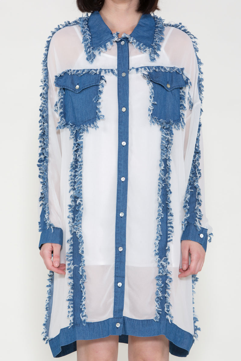 Denim Fringe Patchwork Dress - Shop Beulah Style