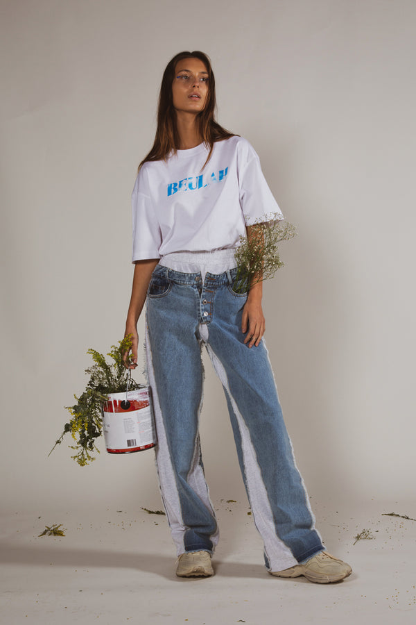 Denim Cutout Sweat Pants - Shop Beulah Style