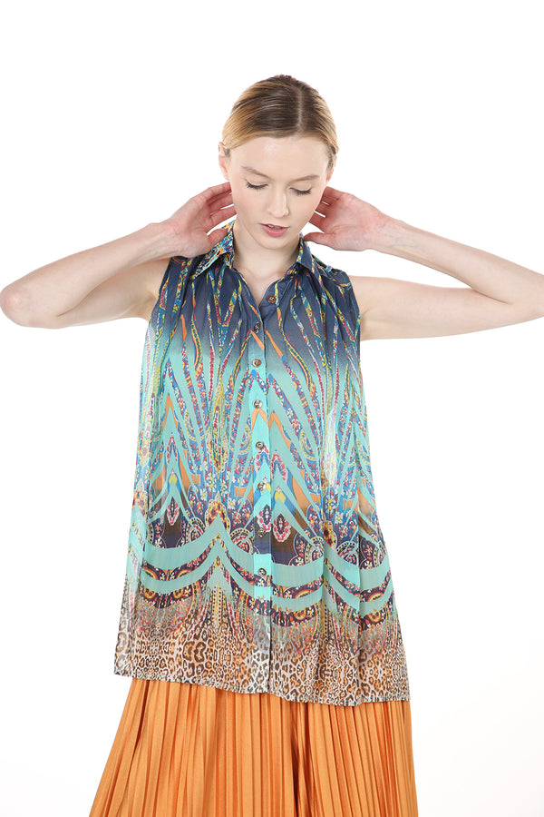 Sleeveless Print Shirt with Epaulets - Shop Beulah Style