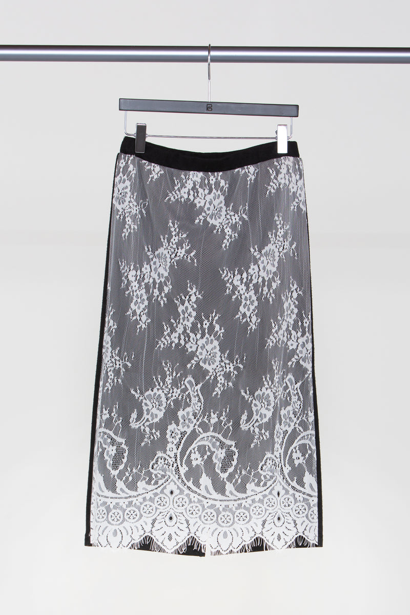 Lace Sheer Pencil Midi Skirt - Shop Beulah Style