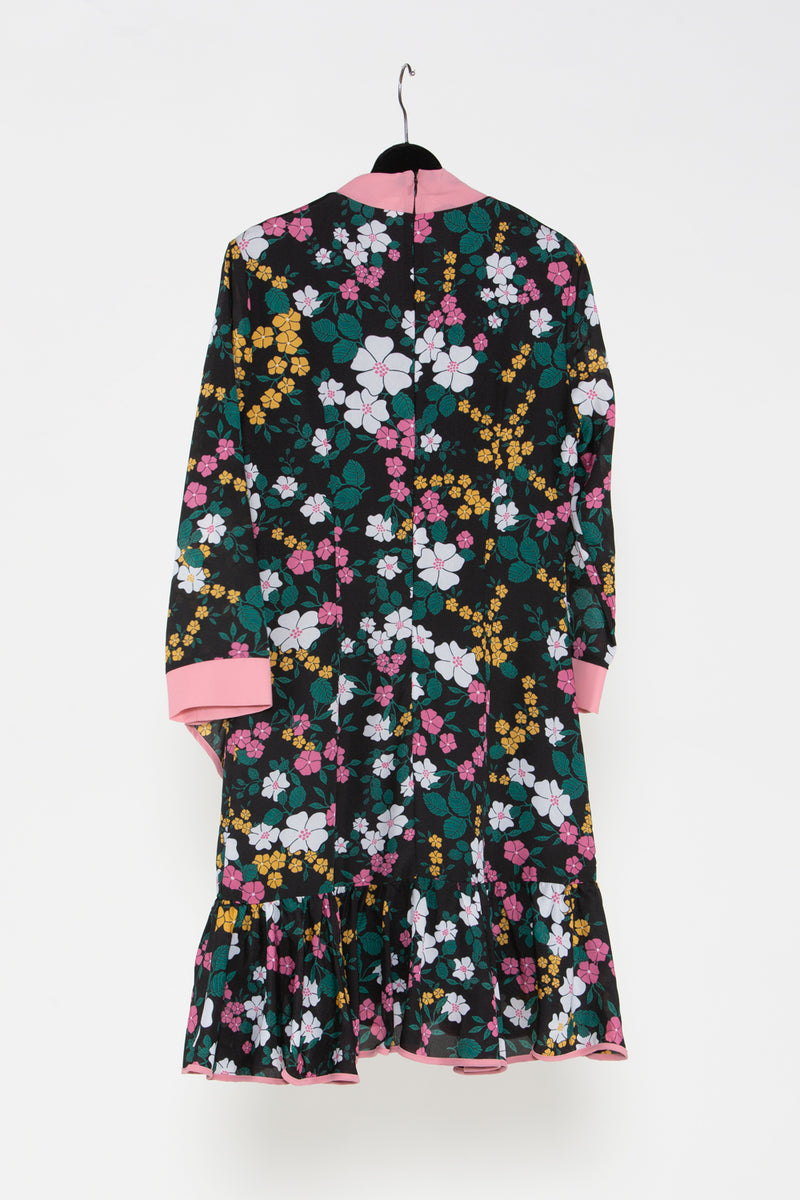 Ribbon Collar Floral Dress - Shop Beulah Style