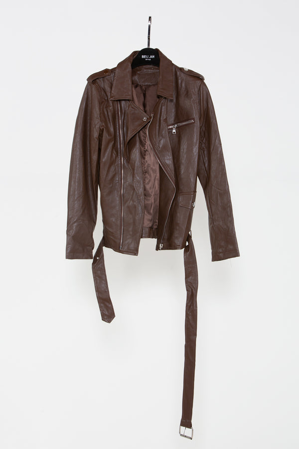 Brown Leather Biker Jacket - Shop Beulah Style