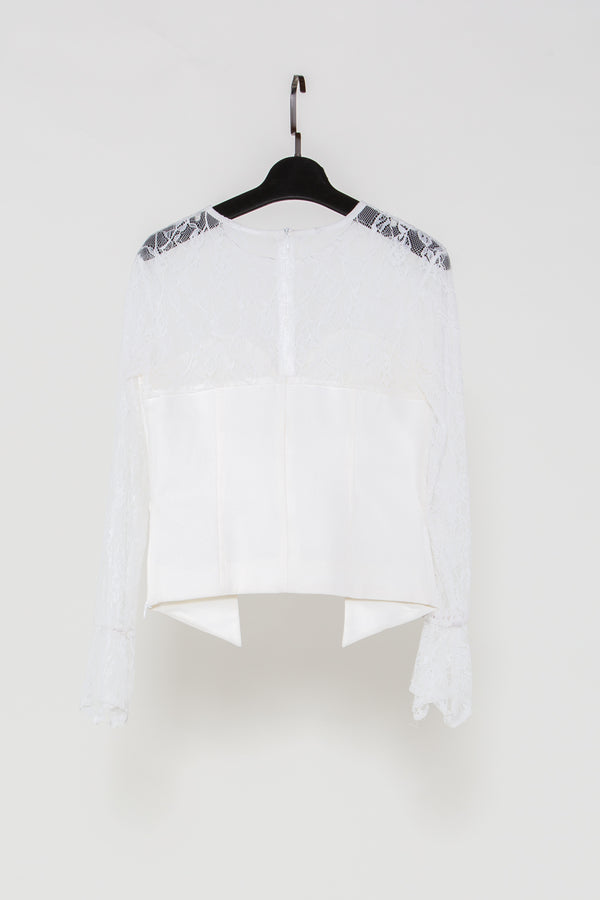 Contrasting Lace and Satin Blouse - Shop Beulah Style