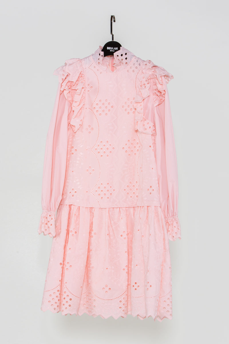 Pink Frill Eyelet Dress - Shop Beulah Style