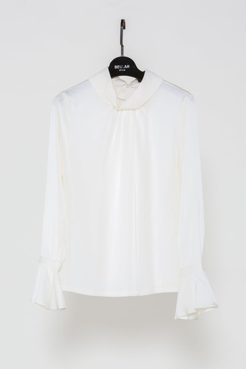 Satin Bell Cuffs Blouse - Shop Beulah Style