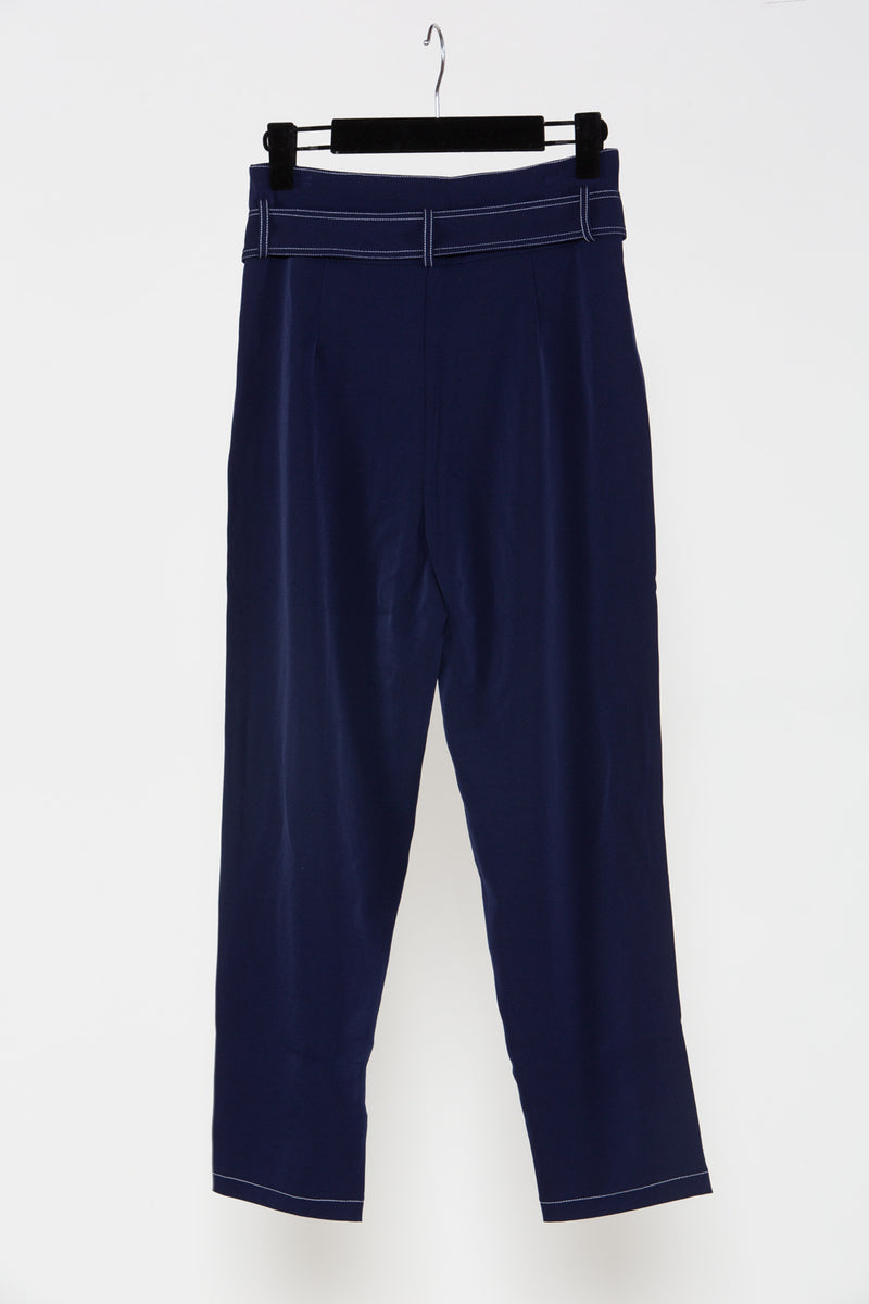 Navy Buckle Belt Capri Pants - Shop Beulah Style