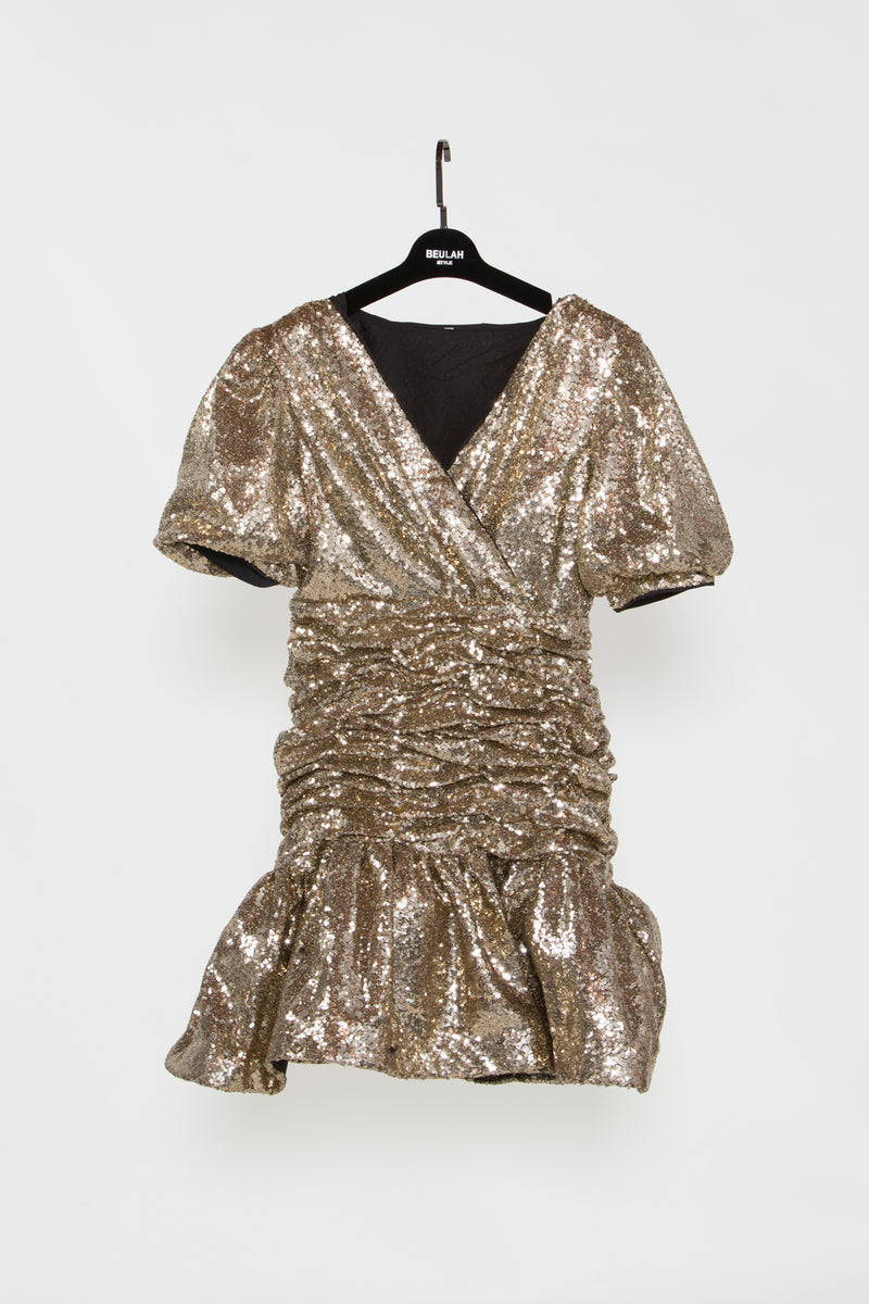 Sequins Ruffled Mini Dress - Shop Beulah Style