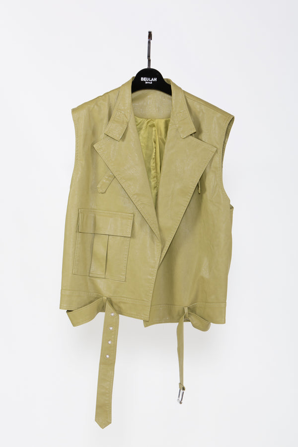 Olive Vegan Leather Vest Jacket - Shop Beulah Style
