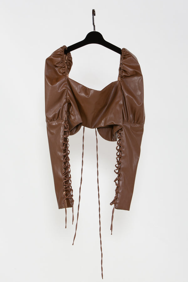 Brown Vegan Leather Juliette Blouse - Shop Beulah Style