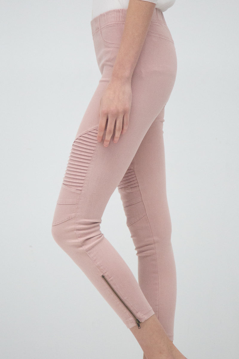 Pleated Detail Moto Jeggings