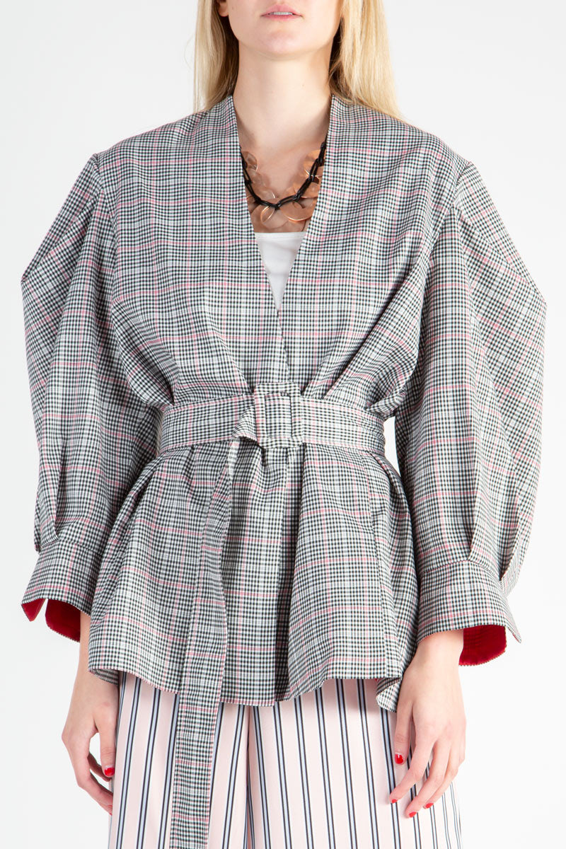 Houndstooth Jacket with Puff Sleeves - Shop Beulah Style