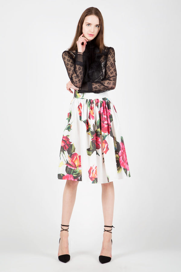 Knee Length Shirred Skirt - Shop Beulah Style