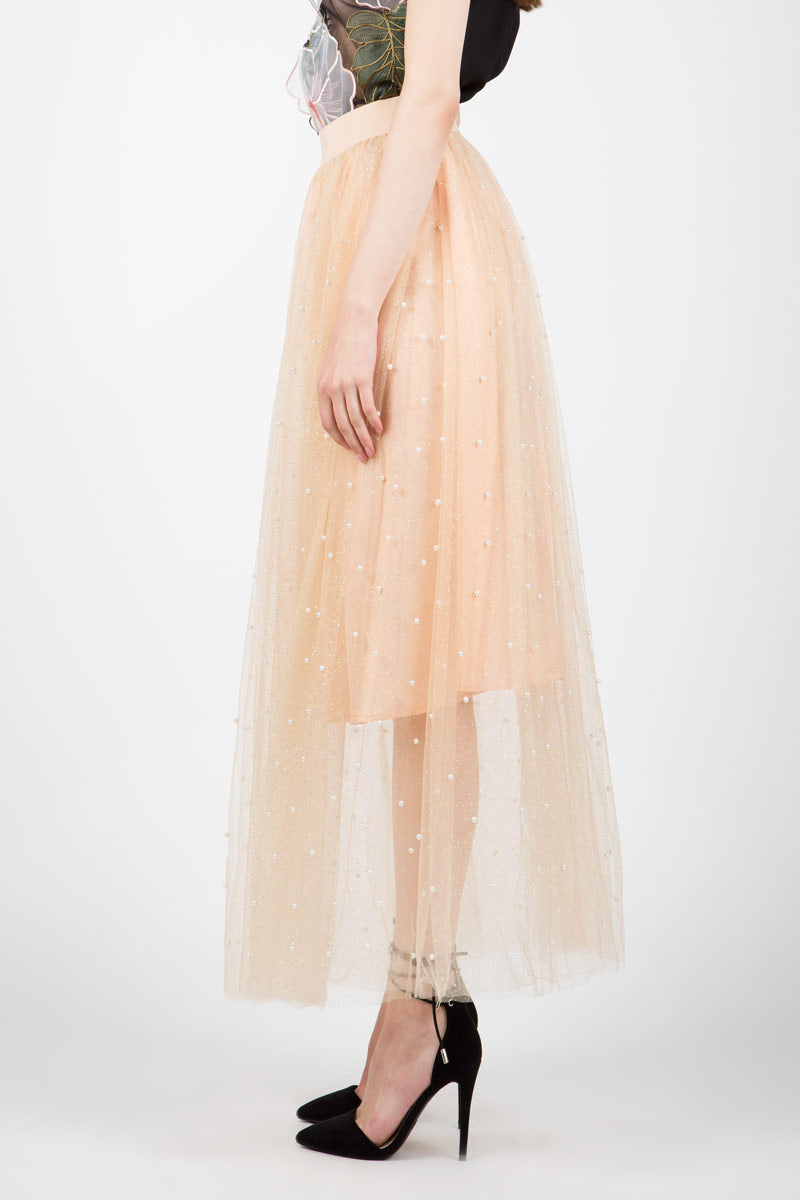 Maxi Length Tulle Skirt with Pearls - Shop Beulah Style