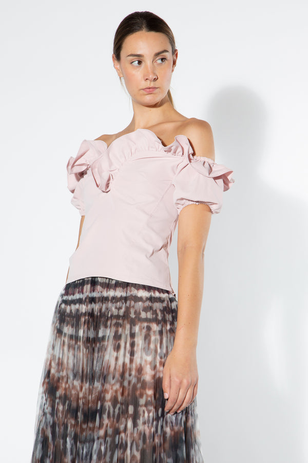 Off Shoulder Top with Shaped Ruffle Neckline - Shop Beulah Style