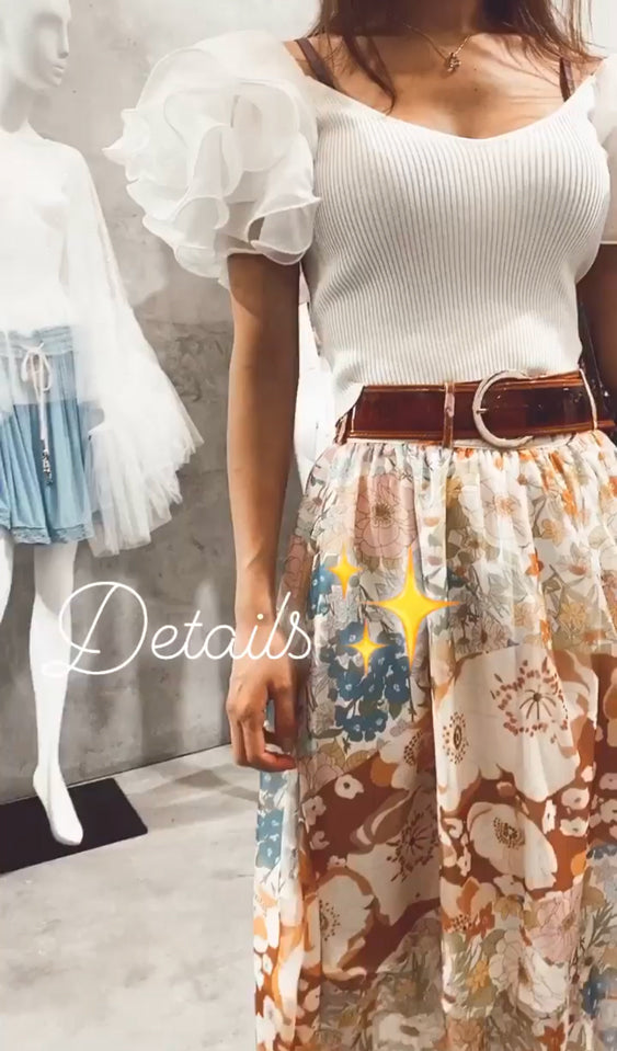 Floral Flared Midi Skirt with Belted Waist - Shop Beulah Style