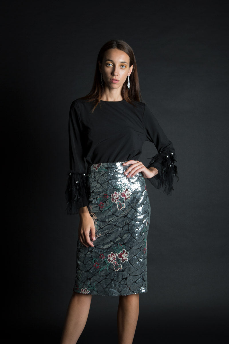 Dazzling Sequins Pencil Skirt - Shop Beulah Style