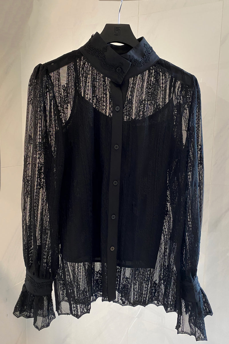 Sheer Lace High Neck Blouse - Shop Beulah Style