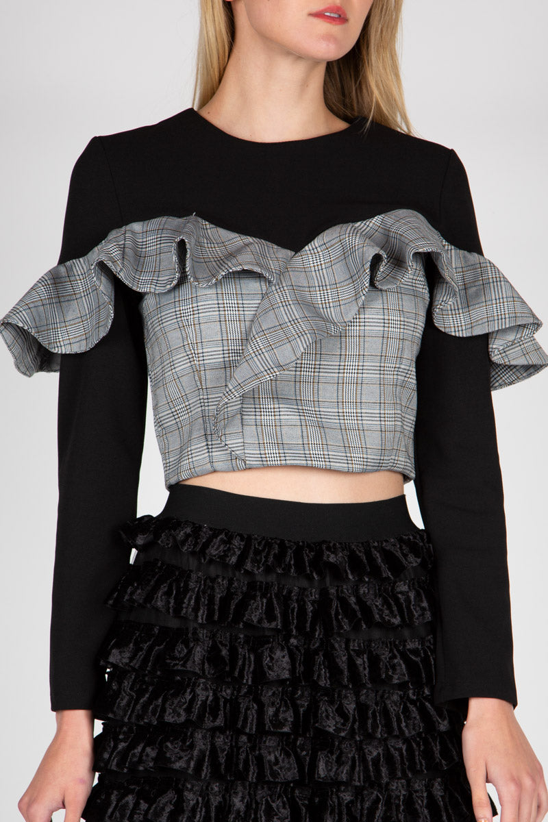 Contrastinng Ruffled Top - Shop Beulah Style