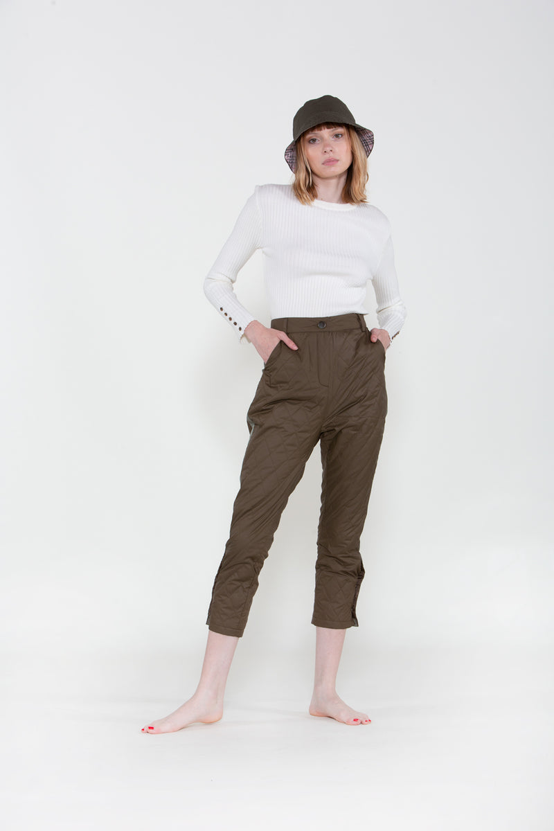 Khaki Quilted Trousers - Shop Beulah Style