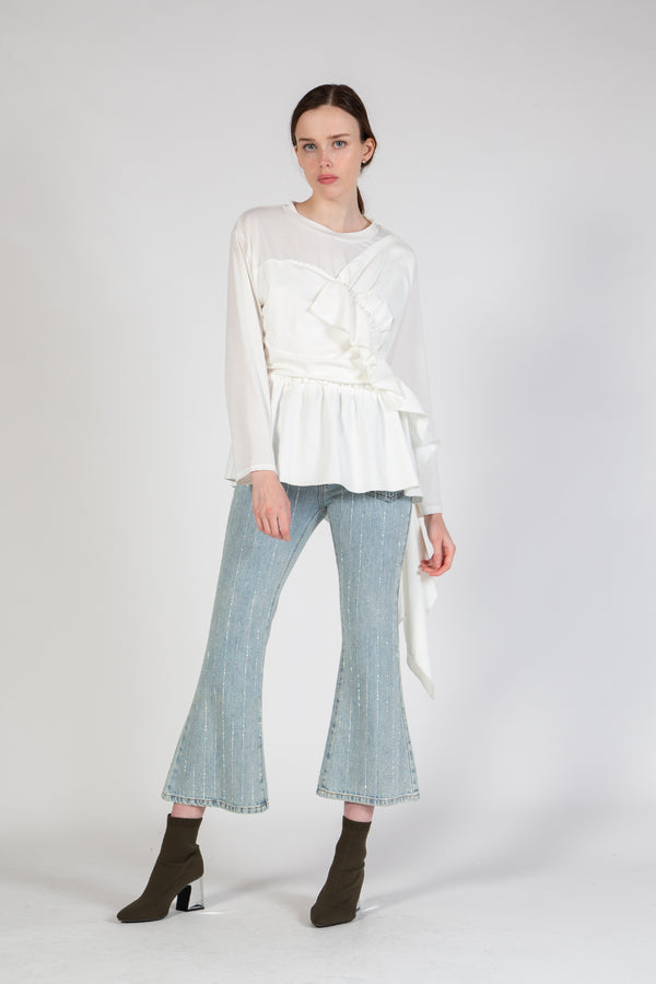 Long Sleeve Knit Top with Woven Ruffles - Shop Beulah Style