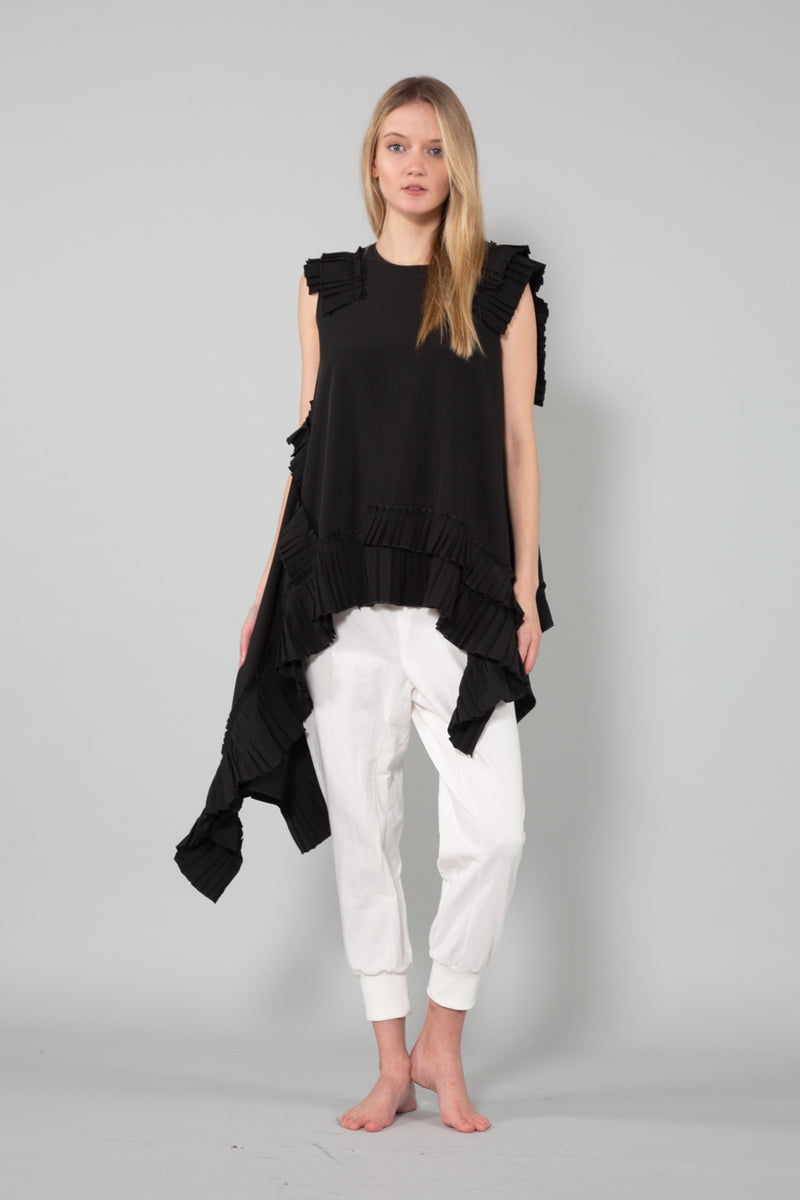 Sleeveless Top with Pleated Trim detail