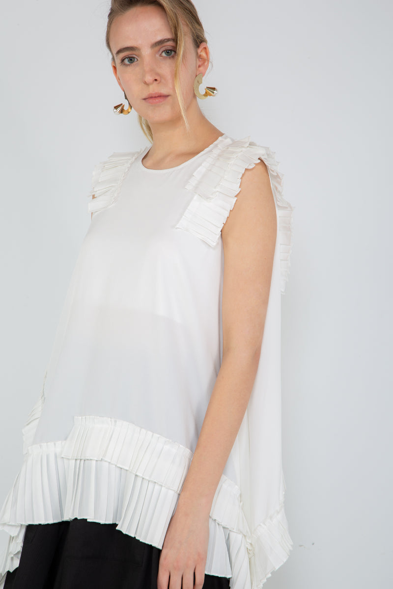 Sleeveless Top with Pleated Trim detail - Shop Beulah Style