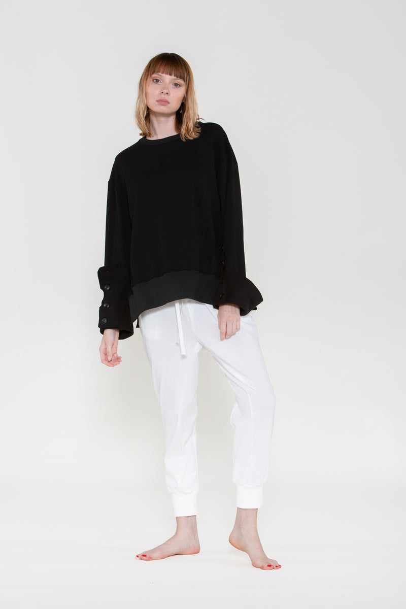 Roll Cuff Buttoned Sweatshirt - Shop Beulah Style