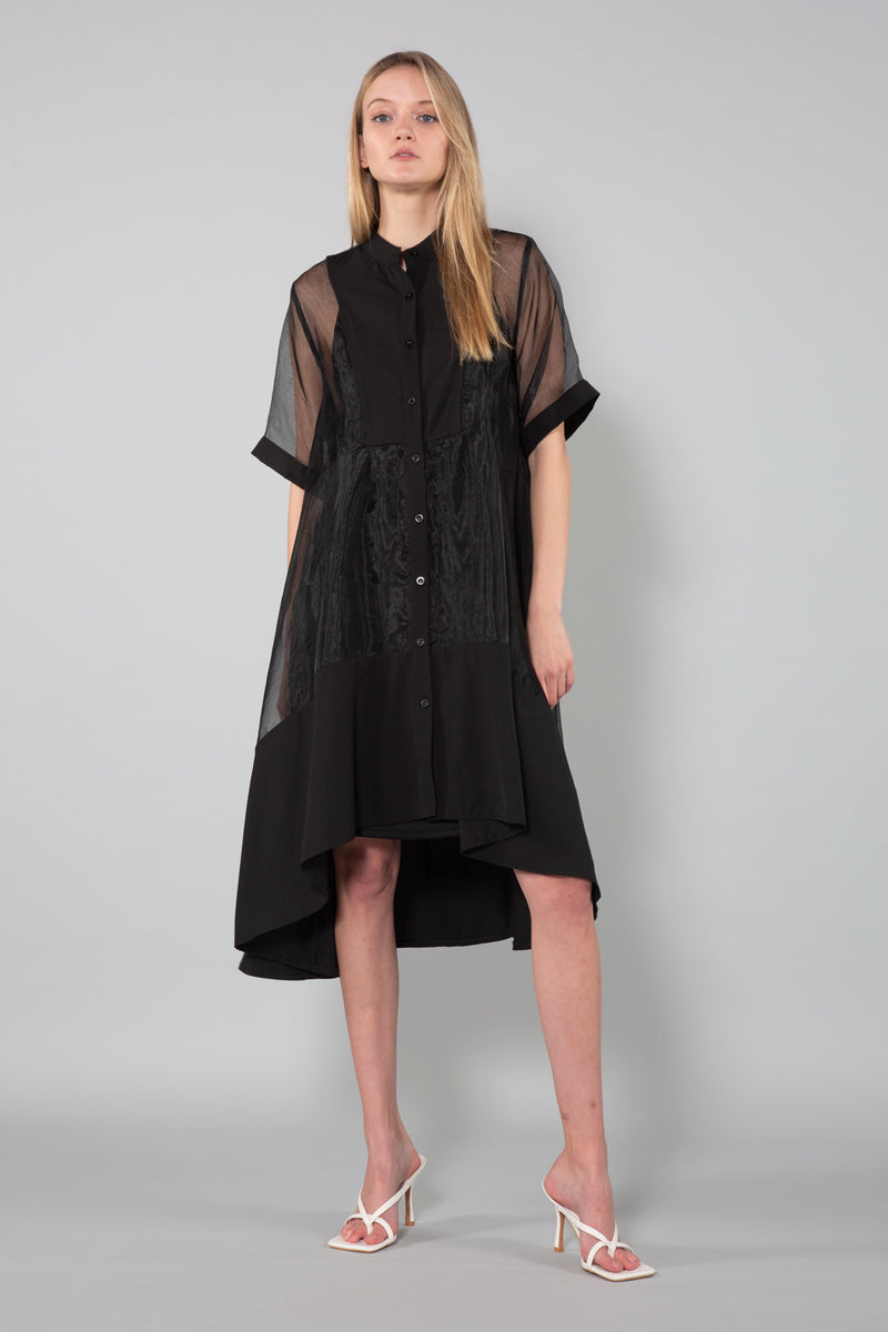 Oversized Midi Length Organza Dress - Shop Beulah Style