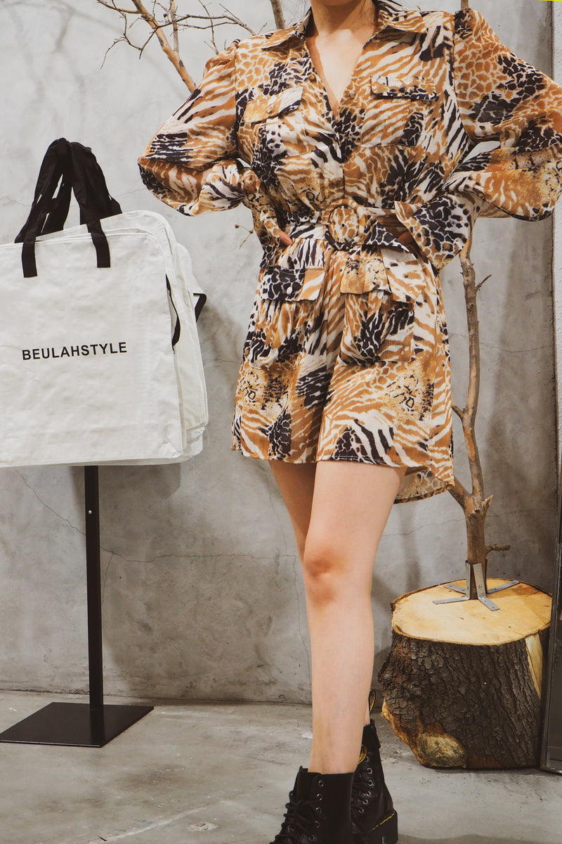 Animal Print Long Sleeve Belted Romper - Shop Beulah Style
