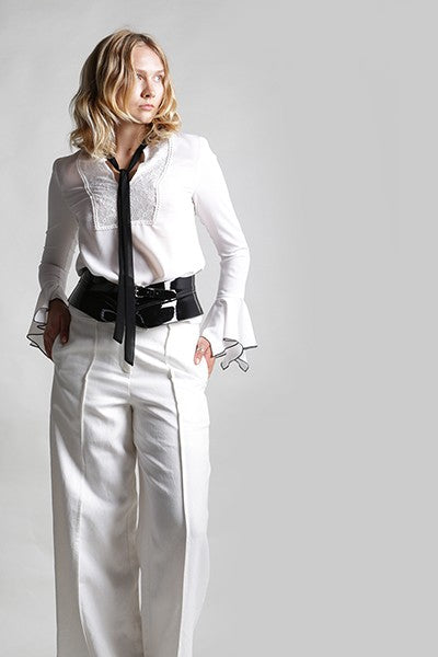 Blouse with Lace Bib and Neck Tie - Shop Beulah Style