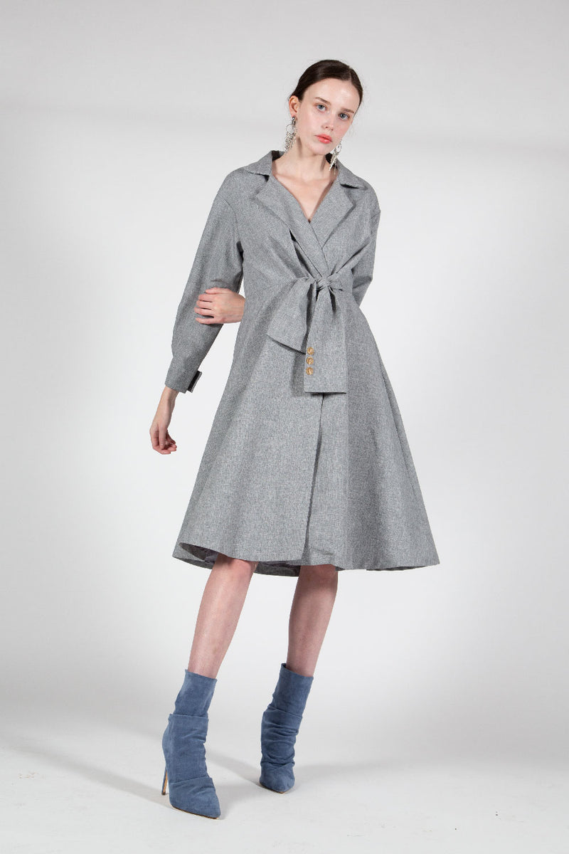 Notch Collar Coat with Front Tie - Shop Beulah Style