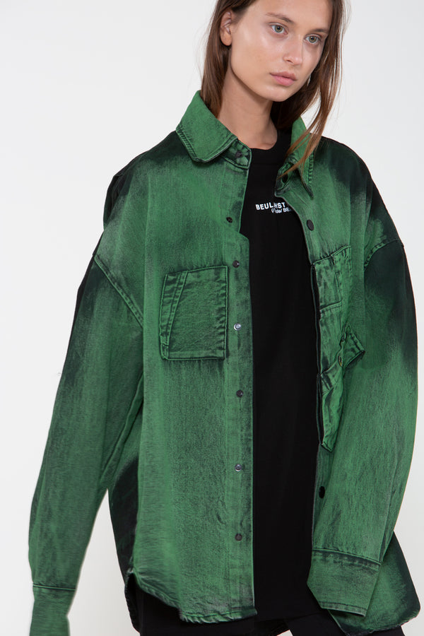 Forest Green Dyed Denim Jacket - Shop Beulah Style