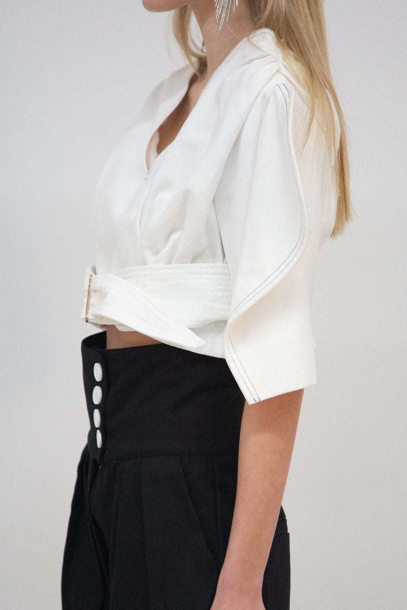 V-Neck Top with Structured Sleeves