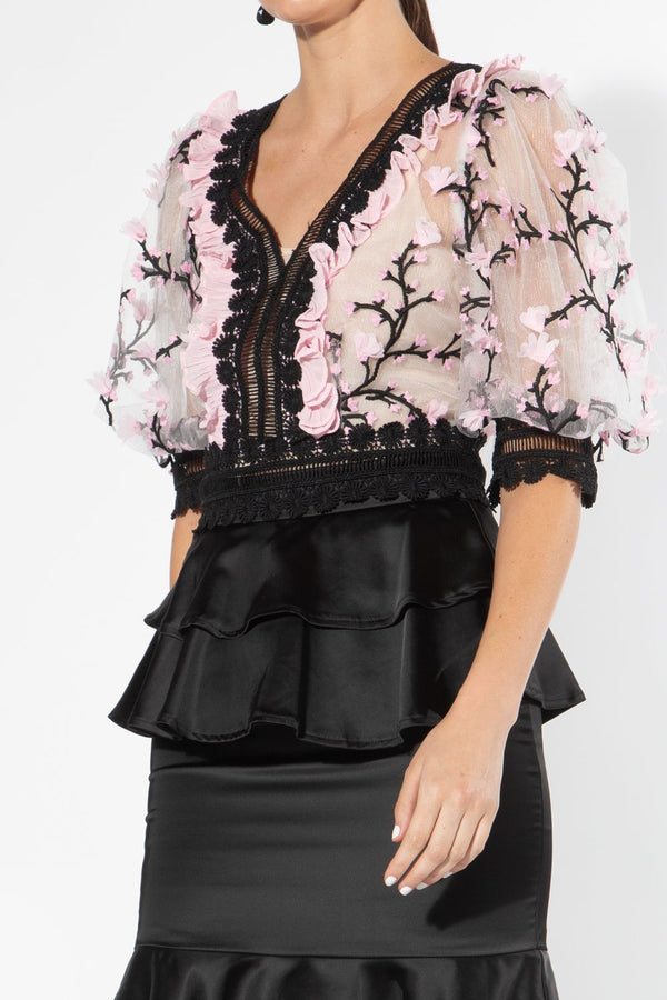 Mesh Blouse with Floral Embroidery
