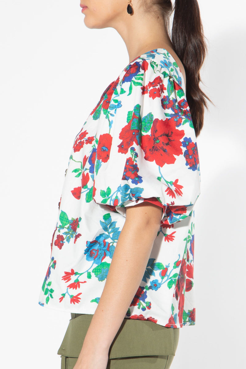 Floral Blouse with Puff Sleeves - Shop Beulah Style