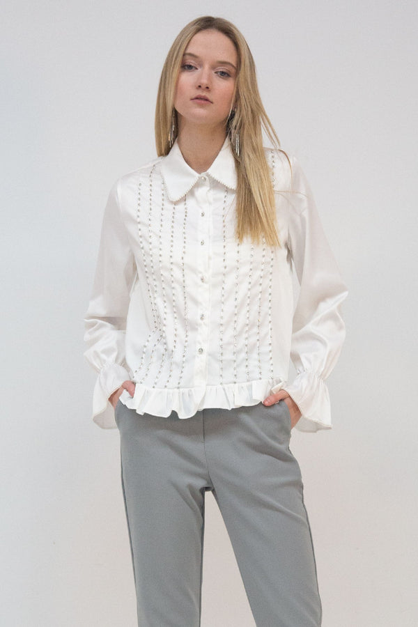 Satin Blouse with Rhinestone Details