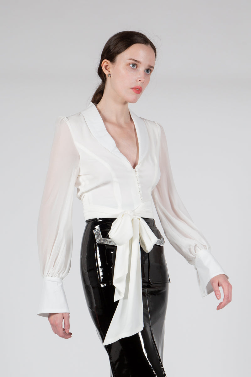 Delicate Shawl Collar Blouse - Shop Beulah Style