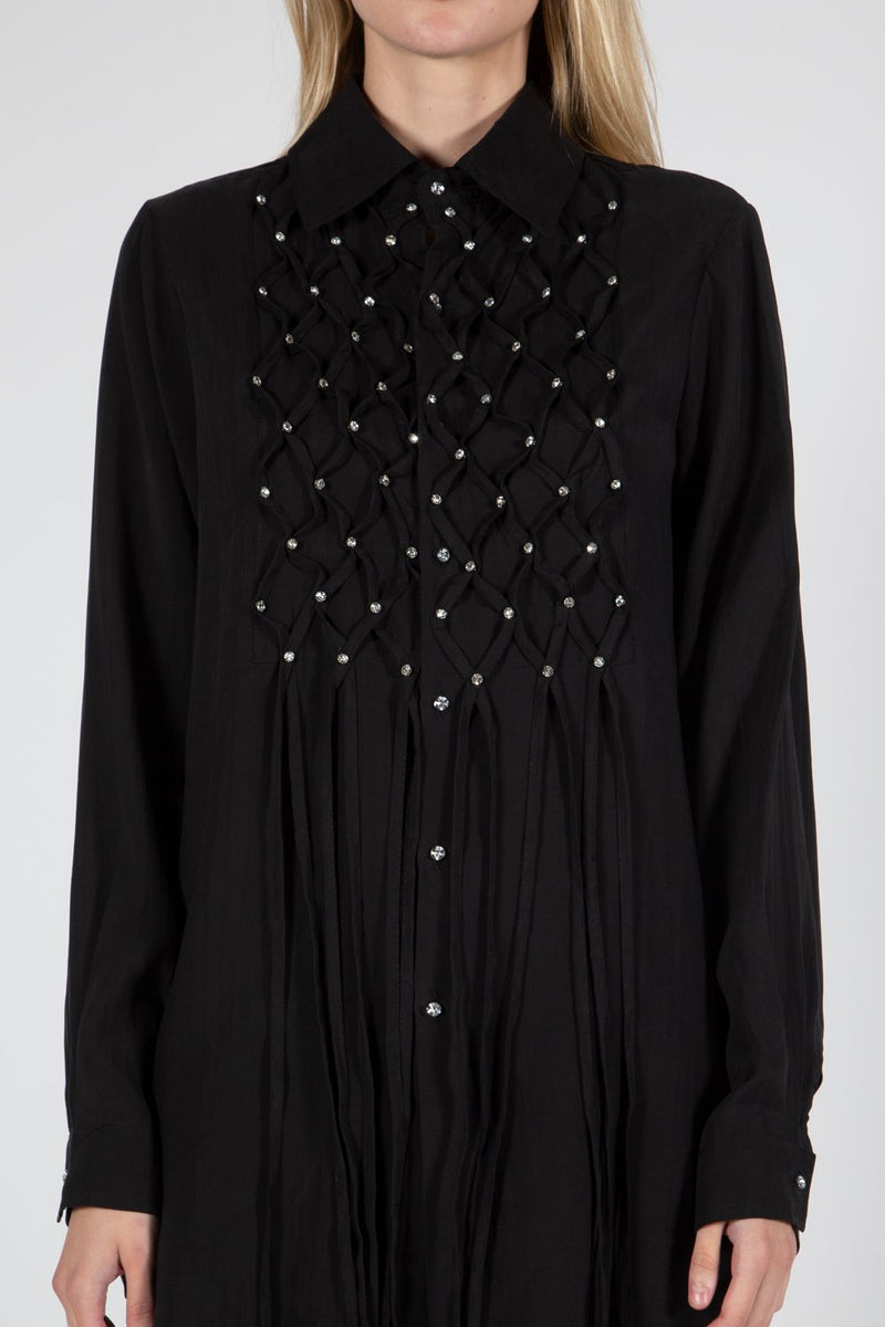 Long Sleeve Top with Fringe and Rhinestone Details - Shop Beulah Style
